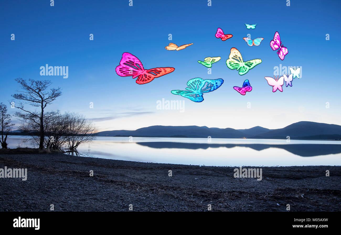 Light painting animation of butterflies at Millarochy Bay, Loch Lomond, Scotland. - Stock Image
