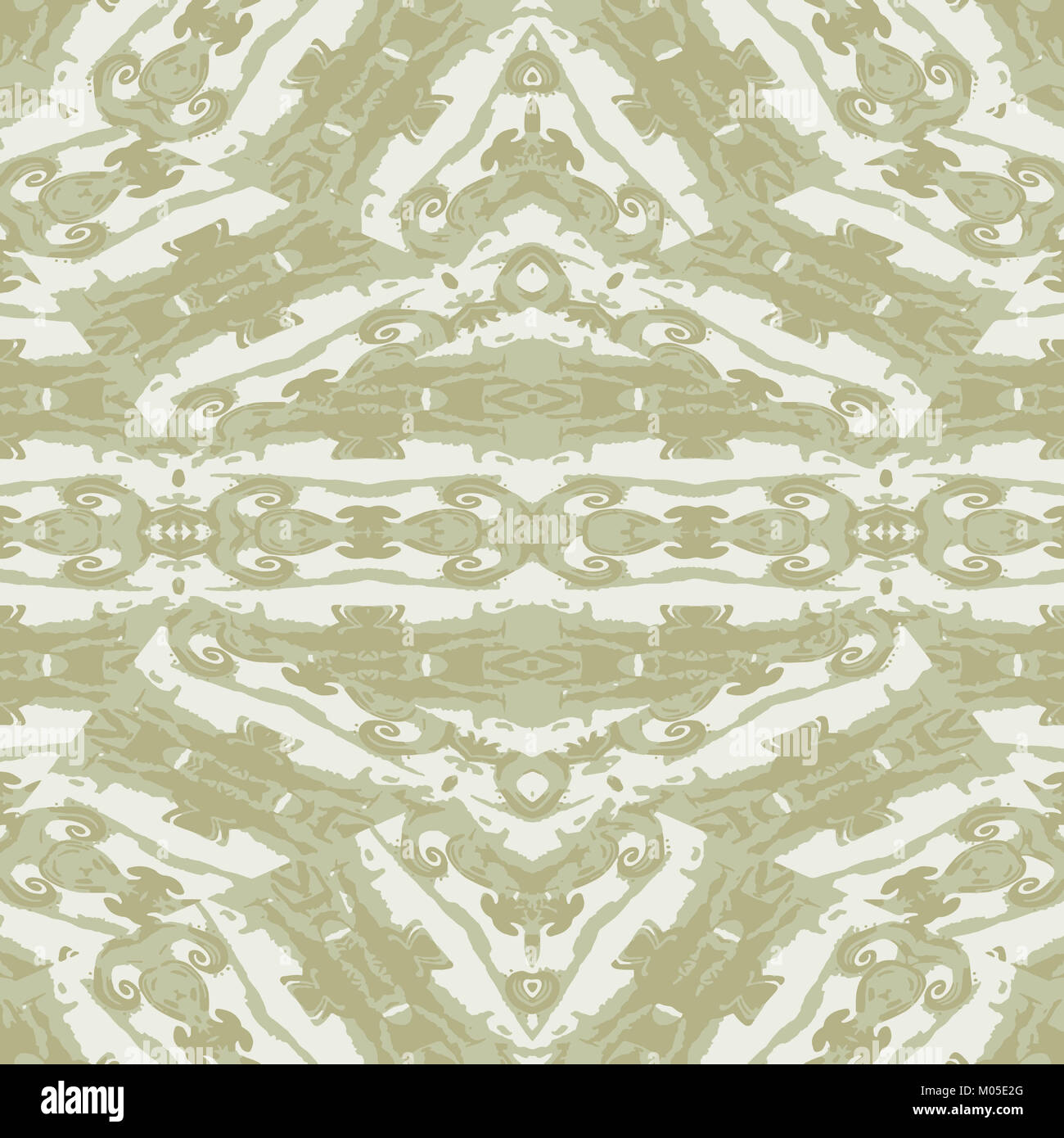 Digital art technique ornate baroque seamless pattern design in pale brown and white colors Stock Photo