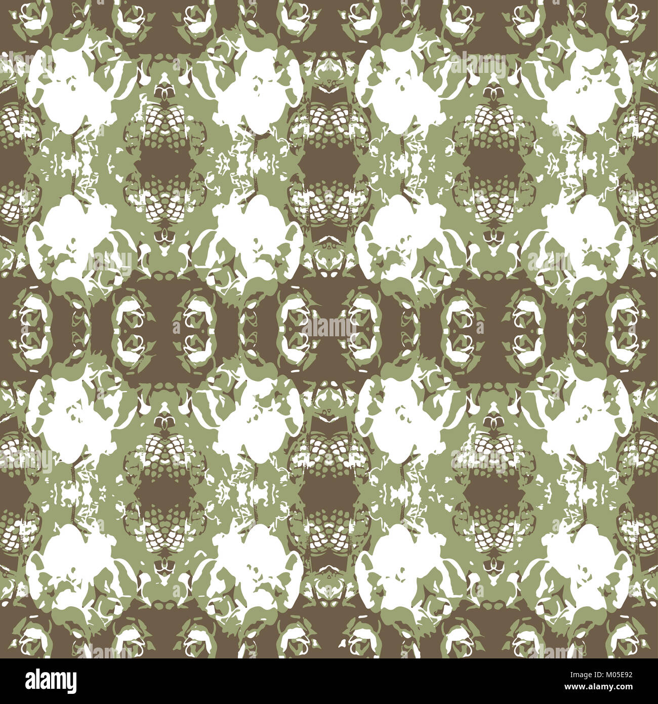 Digital collage technique vintage ornate seamless pattern design in brown and green colors Stock Photo