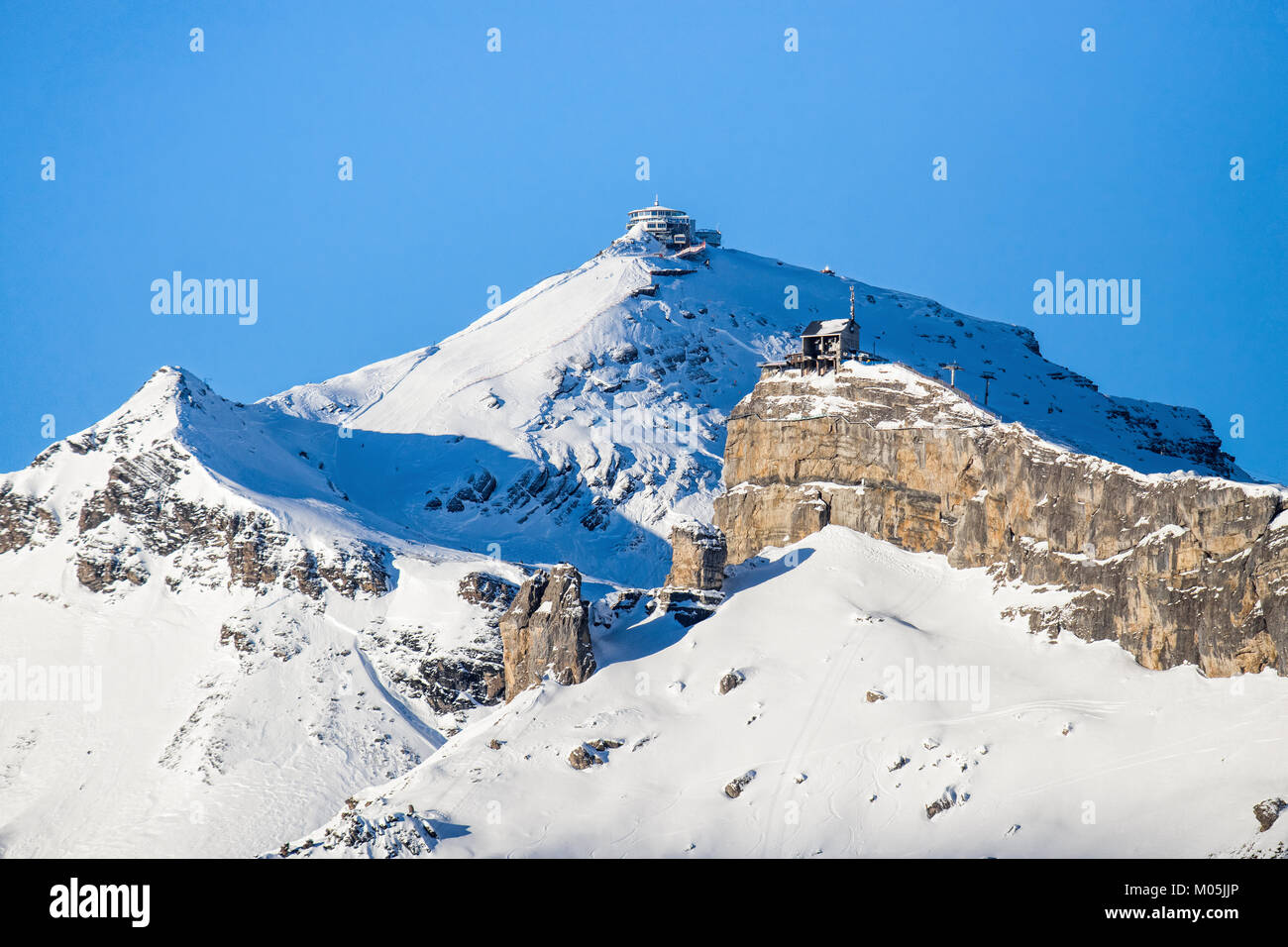 View of the ski resort Jungfrau Wengen in Switzerland - Stock Image