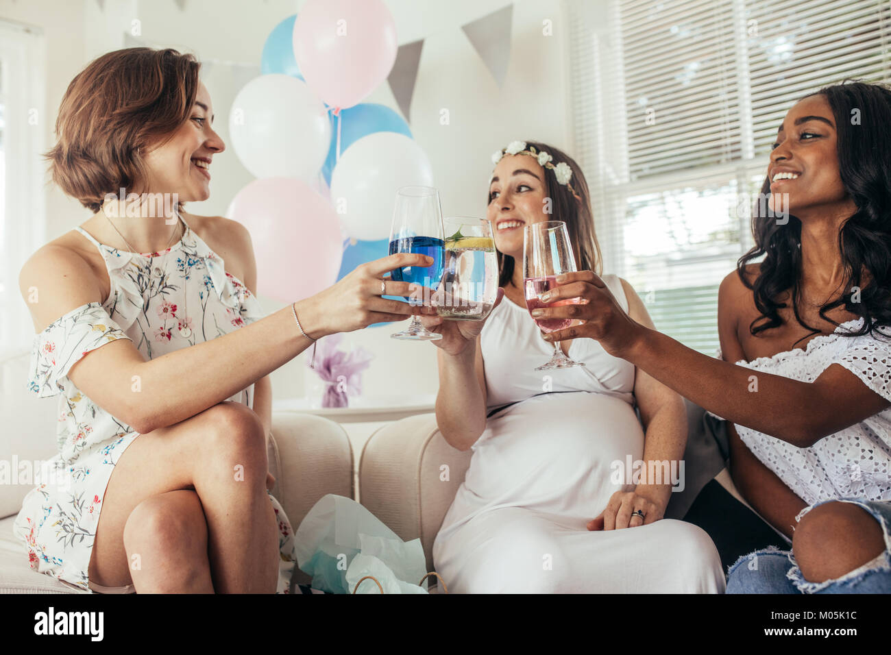 Multiracial Group Of Friends Having A Toast At Baby Shower Group Of Stock Photo Alamy