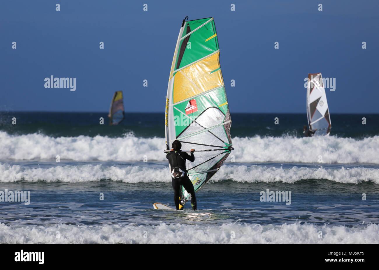 Windsurfing at Inch beach, Dingle Peninsula, co. kerry - Stock Image