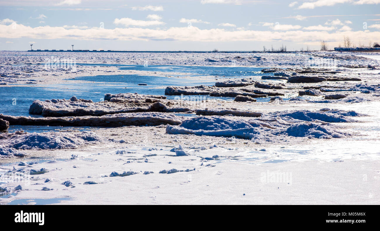 Ice formations on Lake Huron - Stock Image