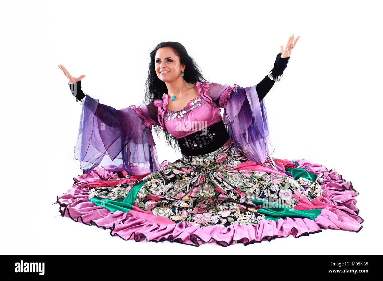 portrait of a Gypsy dancer in national costume - Stock Image
