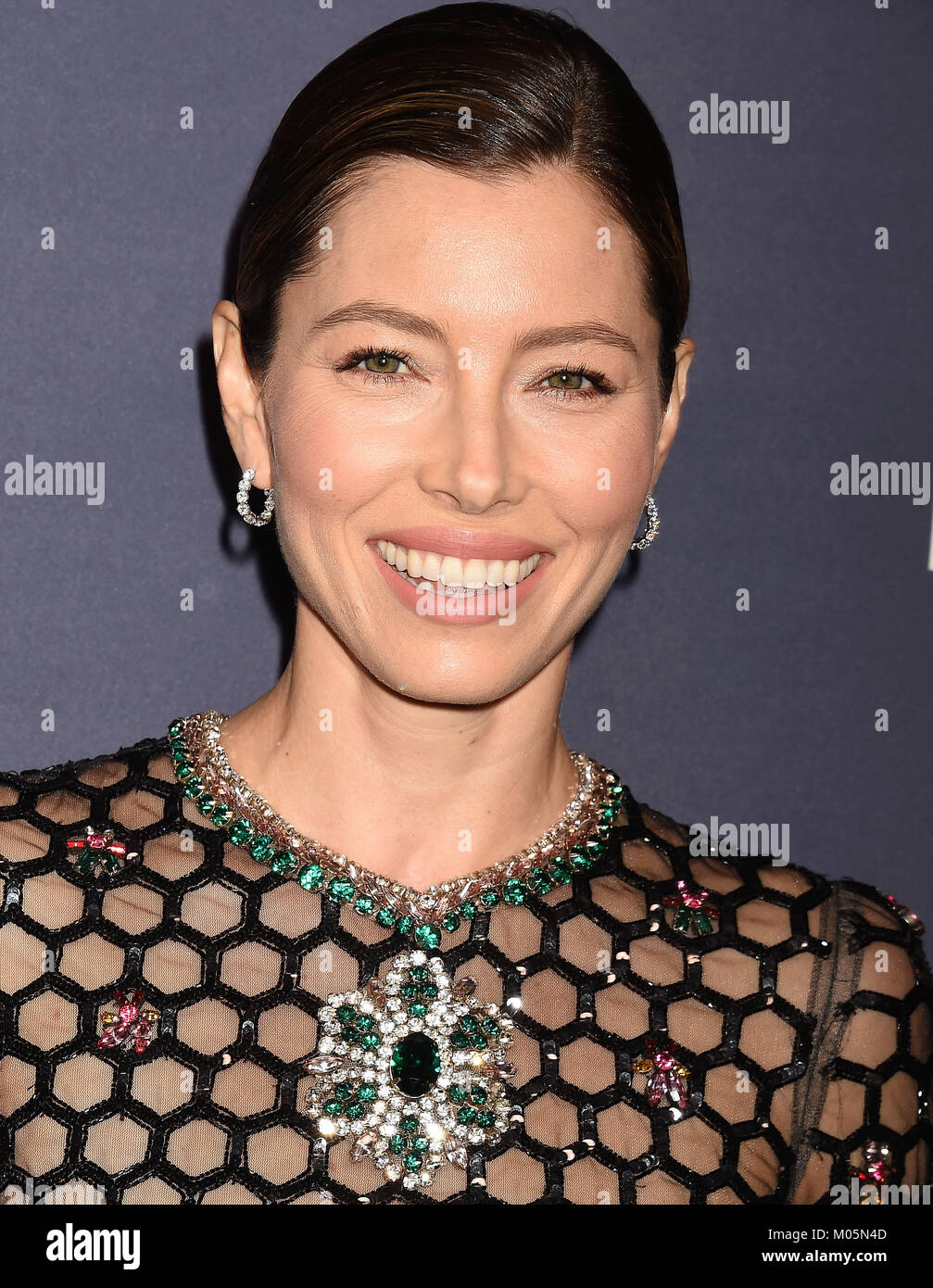 JESSICA BIEL US film actress  attends the 2017 Baby2Baby Gala at 3Labs on November 11, 2017 in Culver City, California. - Stock Image