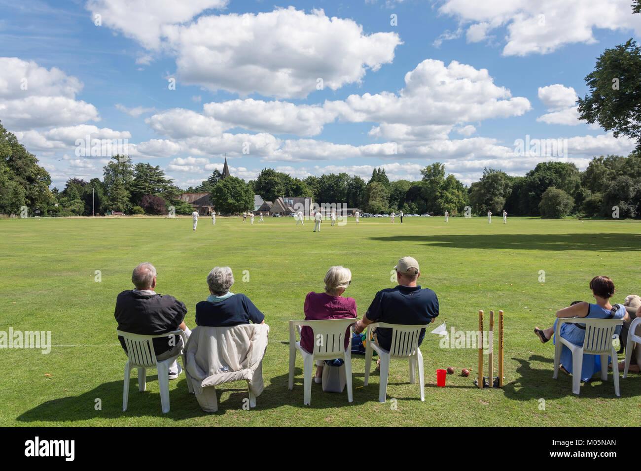 Saturday match at Chorleywood Cricket Club, Chorleywood, Hertfordshire, England, United Kingdom Stock Photo