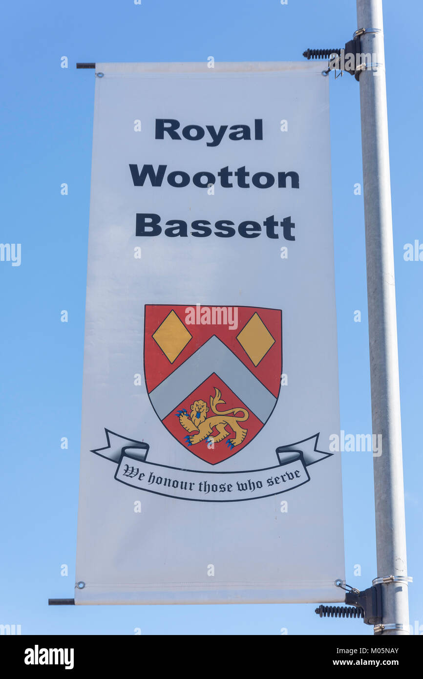 Town banner, High Street, Royal Wootton Bassett, Wiltshire, England, United Kingdom - Stock Image