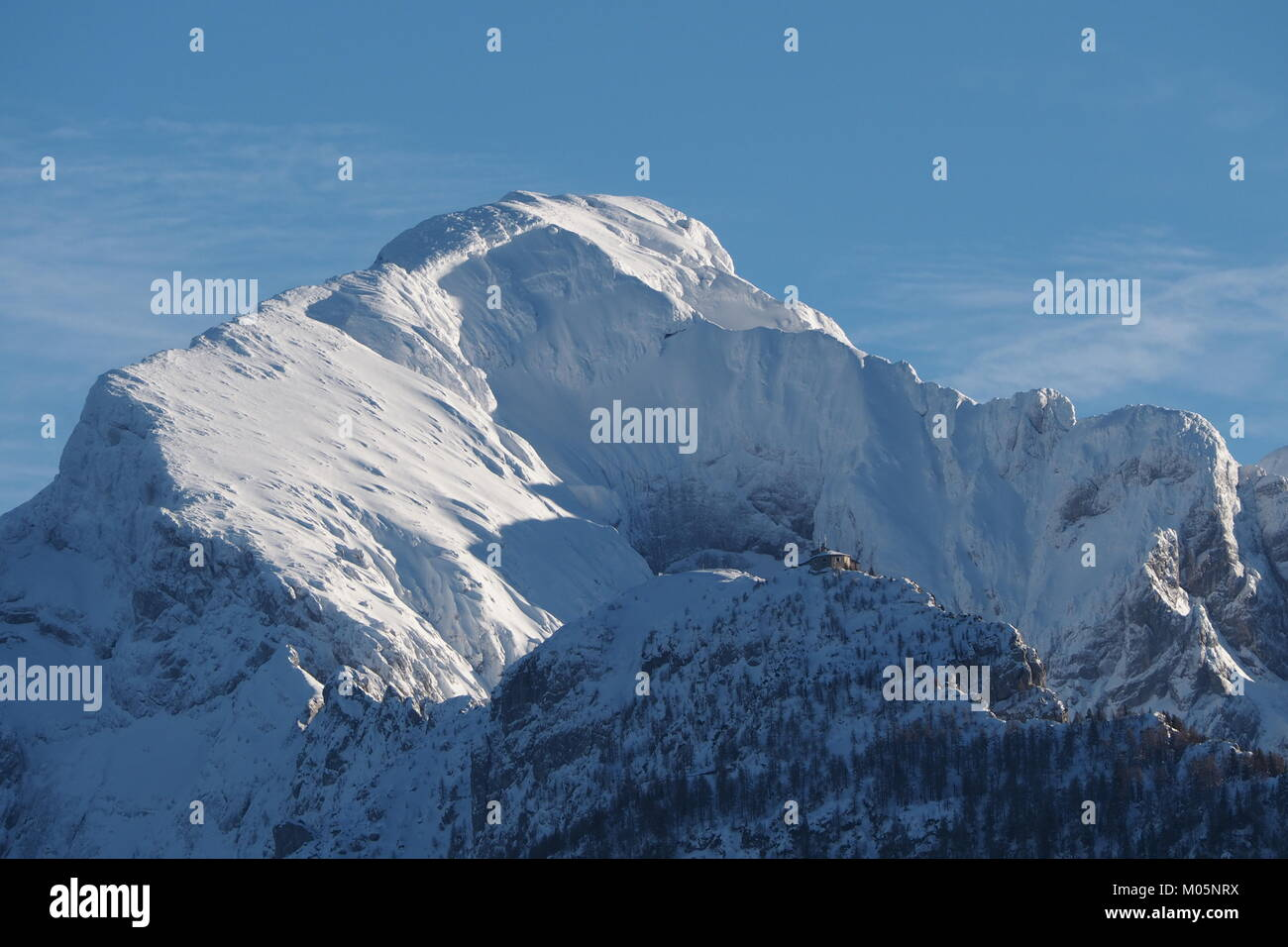 Mt. Hoher Goell and Kehlsteinhaus in winter with lots of snow Stock Photo