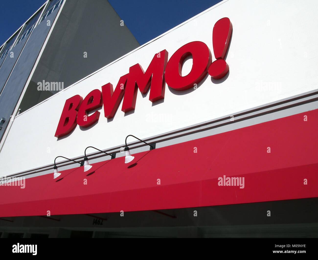Bevmo! store sign, Burlingame, California, USA - Stock Image
