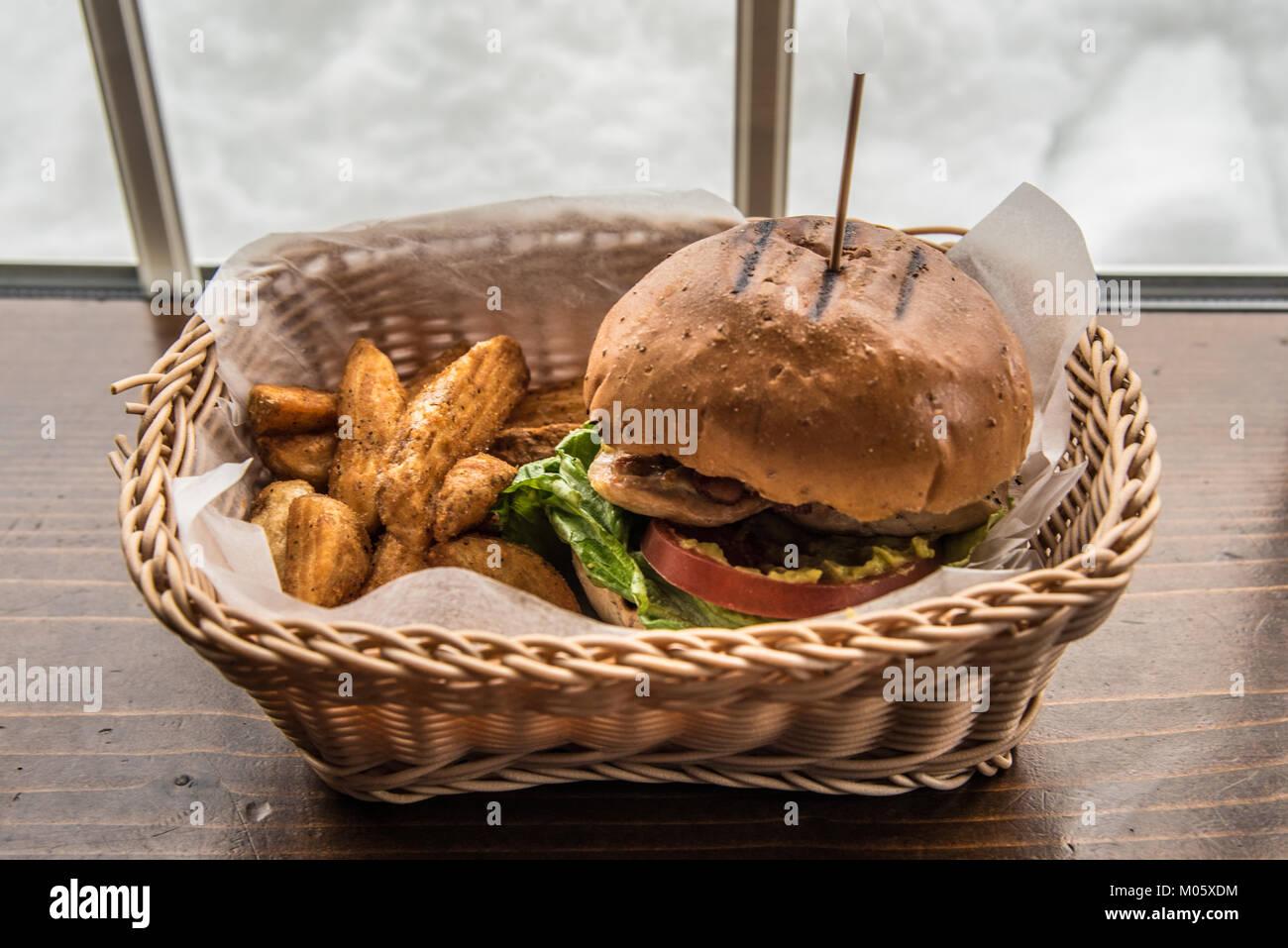 Burger, Fries, Basket - Stock Image