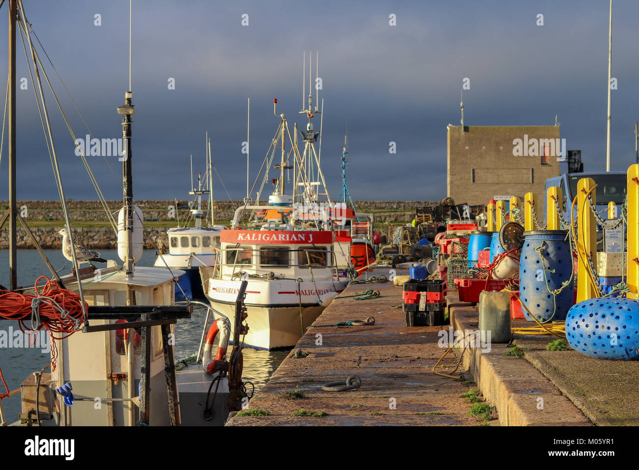 Fishing Boats at the pier. Questions are being raised as to what the impact of Brexit will be on the Irish Fishing - Stock Image