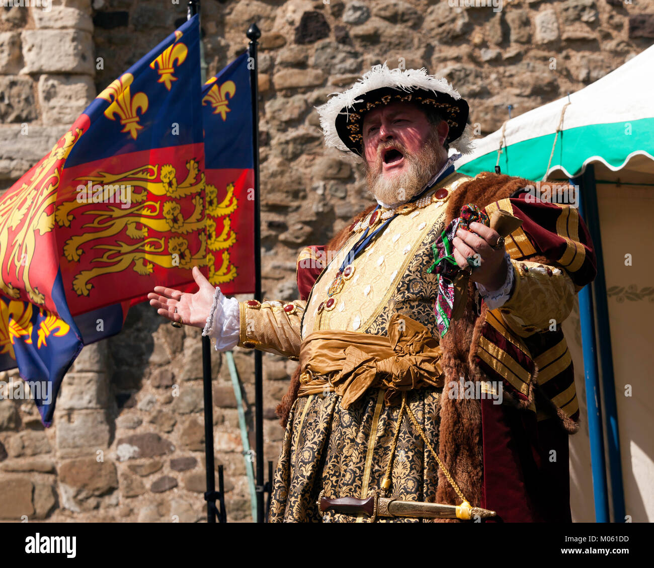 An Actor playing King Henry the 8th, during  a day of historical re-enactments held at Dover Castle August 2017 - Stock Image
