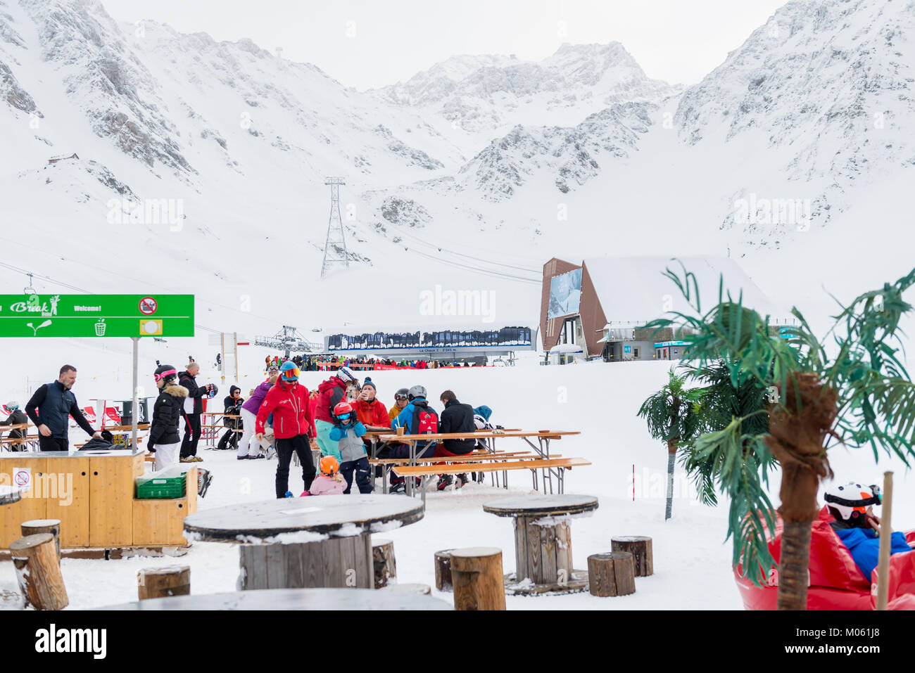 VERBIER, SWITZERLAND - JANUARY 5, 2018: Ski resort in Swiss Alps near Restaurant Le Dahu, situated right at the - Stock Image