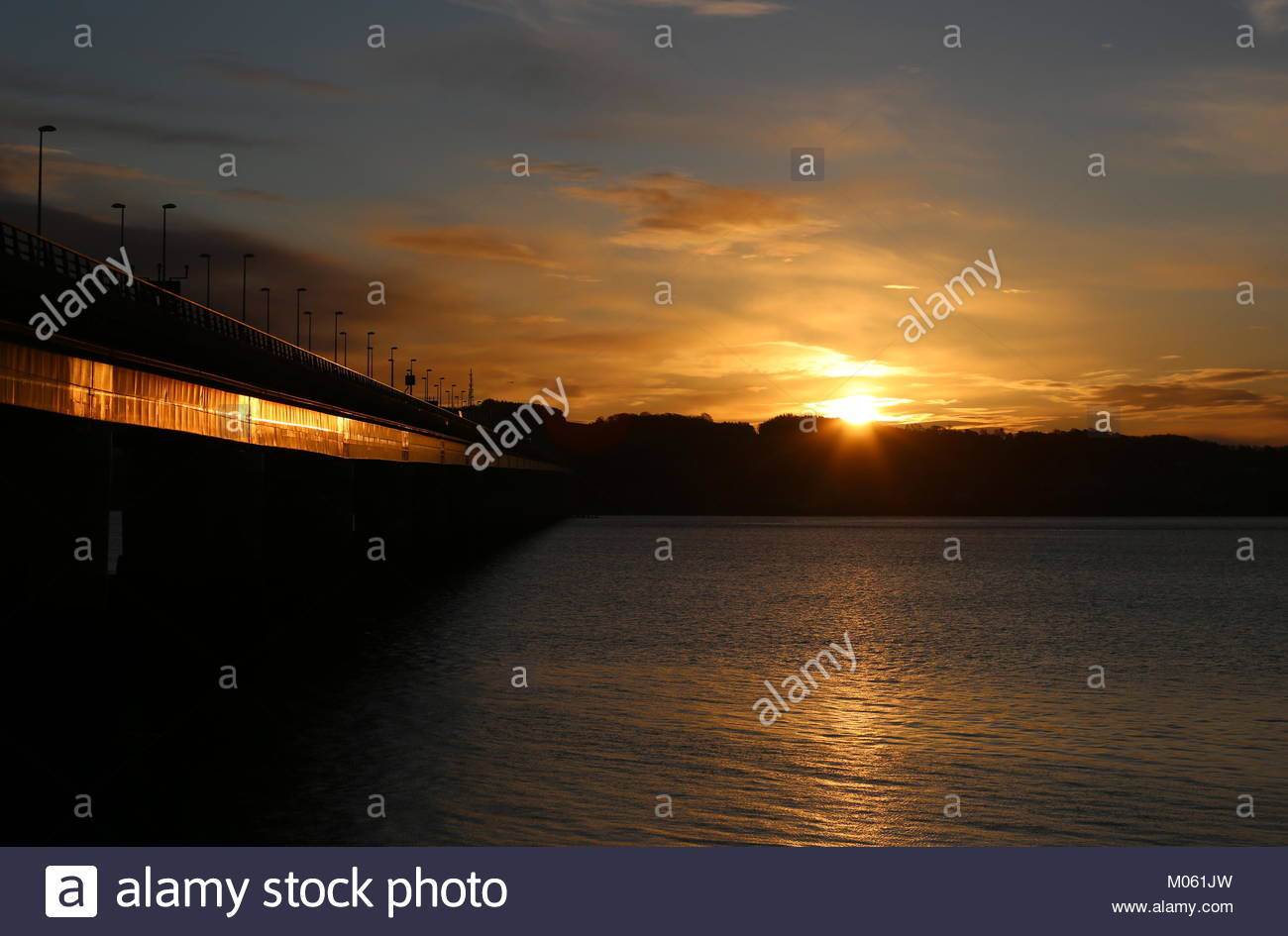 Tay Road Bridge at dawn Dundee Scotland  January 2018 - Stock Image