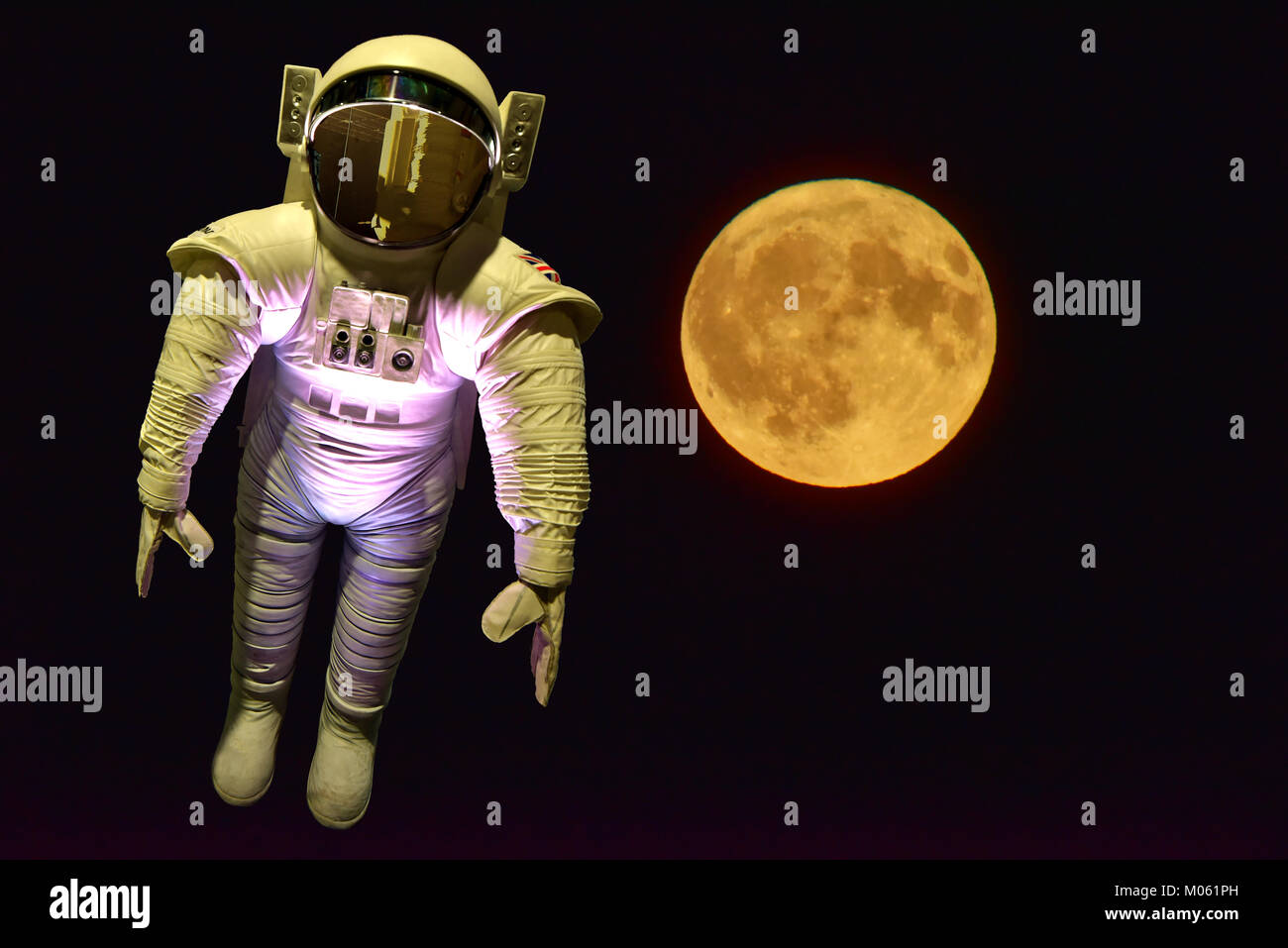 Tim Peakes Soyuz Russian mockup spacesuit with moon background Shildon Railway Museum - Stock Image