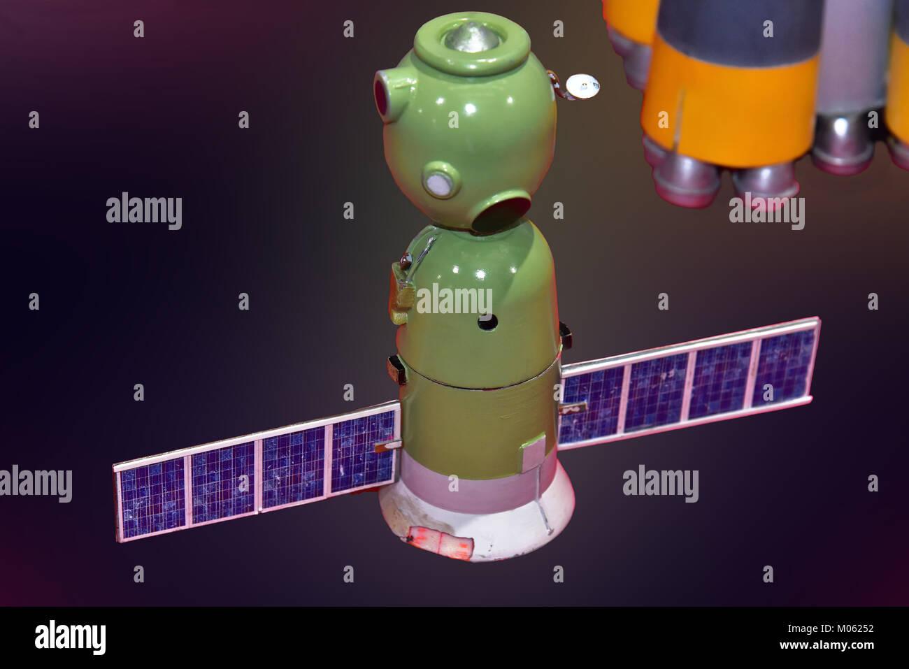 Tim Peakes Soyuz Russian Space Craft capsule including orbiter Shildon Railway Museum - Stock Image