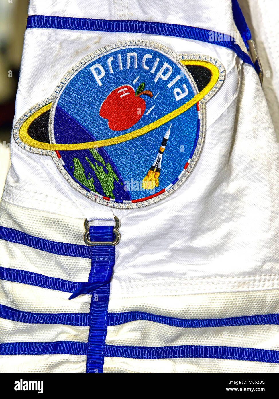 Tim Peakes Soyuz Russian spacesuit and Principia Isaac Newton badge Shildon Railway Museum - Stock Image