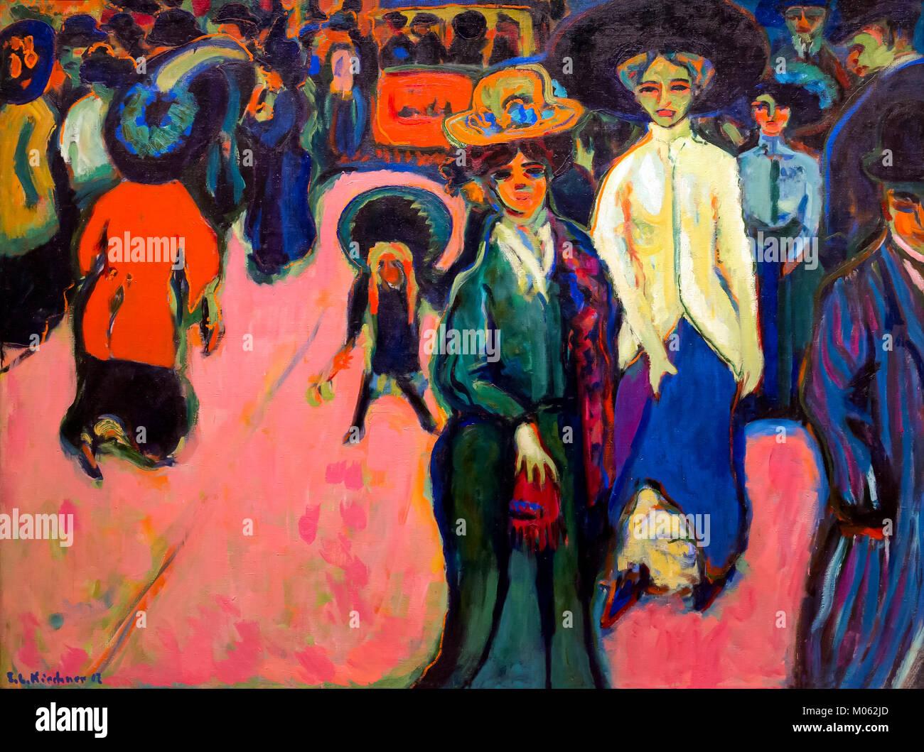 Street, Dresden, Ernst Ludwig Kirchner, 1908, - Stock Image
