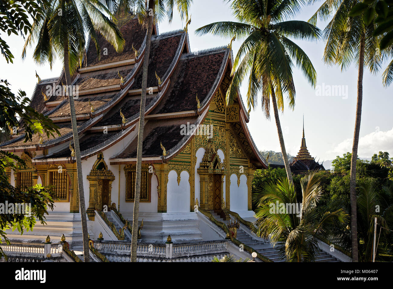 Haw Pha Bang Temple at the Royal Palace in UNESCO World Heritage Town Luang Prabang, Laos - Stock Image