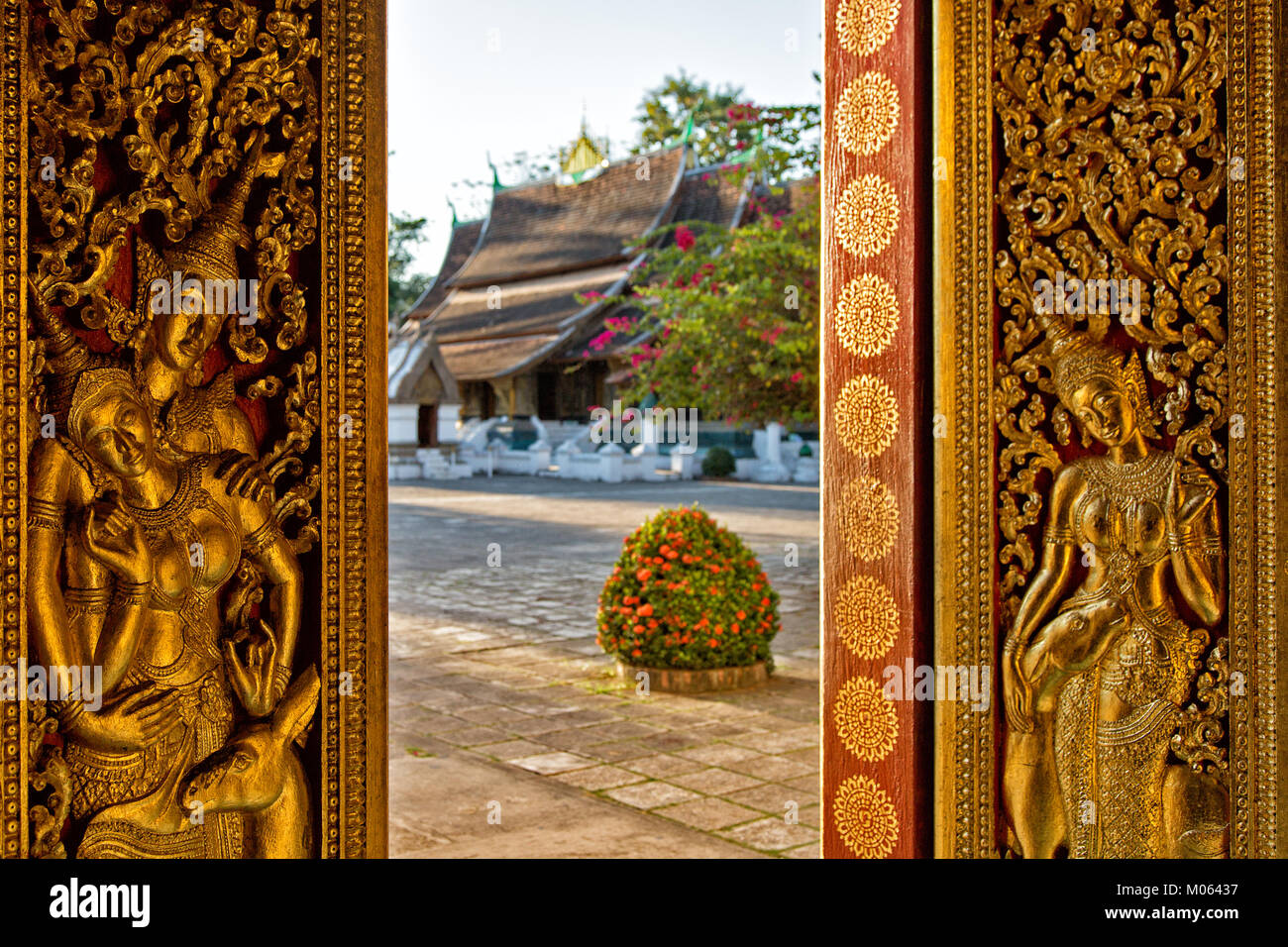 View to Wat Xieng Thong Temple in buddhism and UNESCO World Heritage Town Luang Prabang, Laos - Stock Image