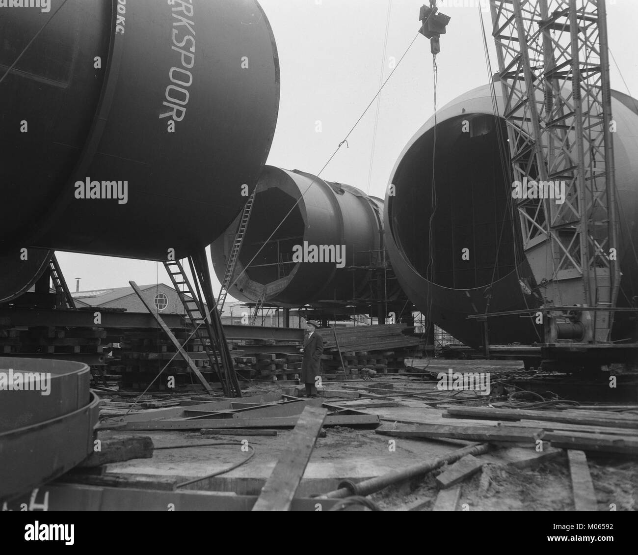 Bouw windtunnel Nationaal Luchtvaartlaboratorium Amsterdam, Bestanddeelnr 908-1556 - Stock Image