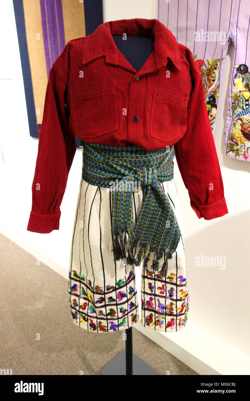 Boy's outfit, Tz'utujil Maya, Santiago Atitlan, view 1, mid to late 20th century, cotton - Textile Museum - Stock Image