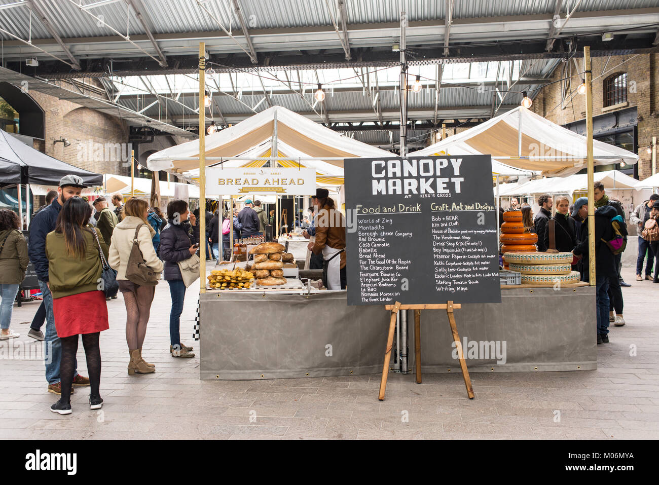 The Canopy Market, King's Cross, London. Canopy market is a pop-up market near Granary Square whith various - Stock Image