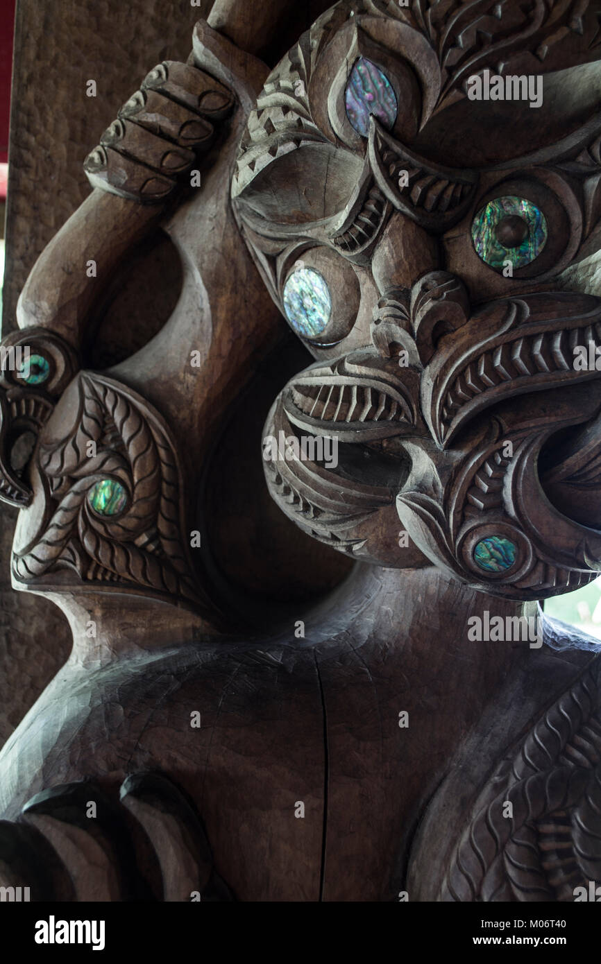 Waitangi, New Zealand. Detail of waka house - Stock Image