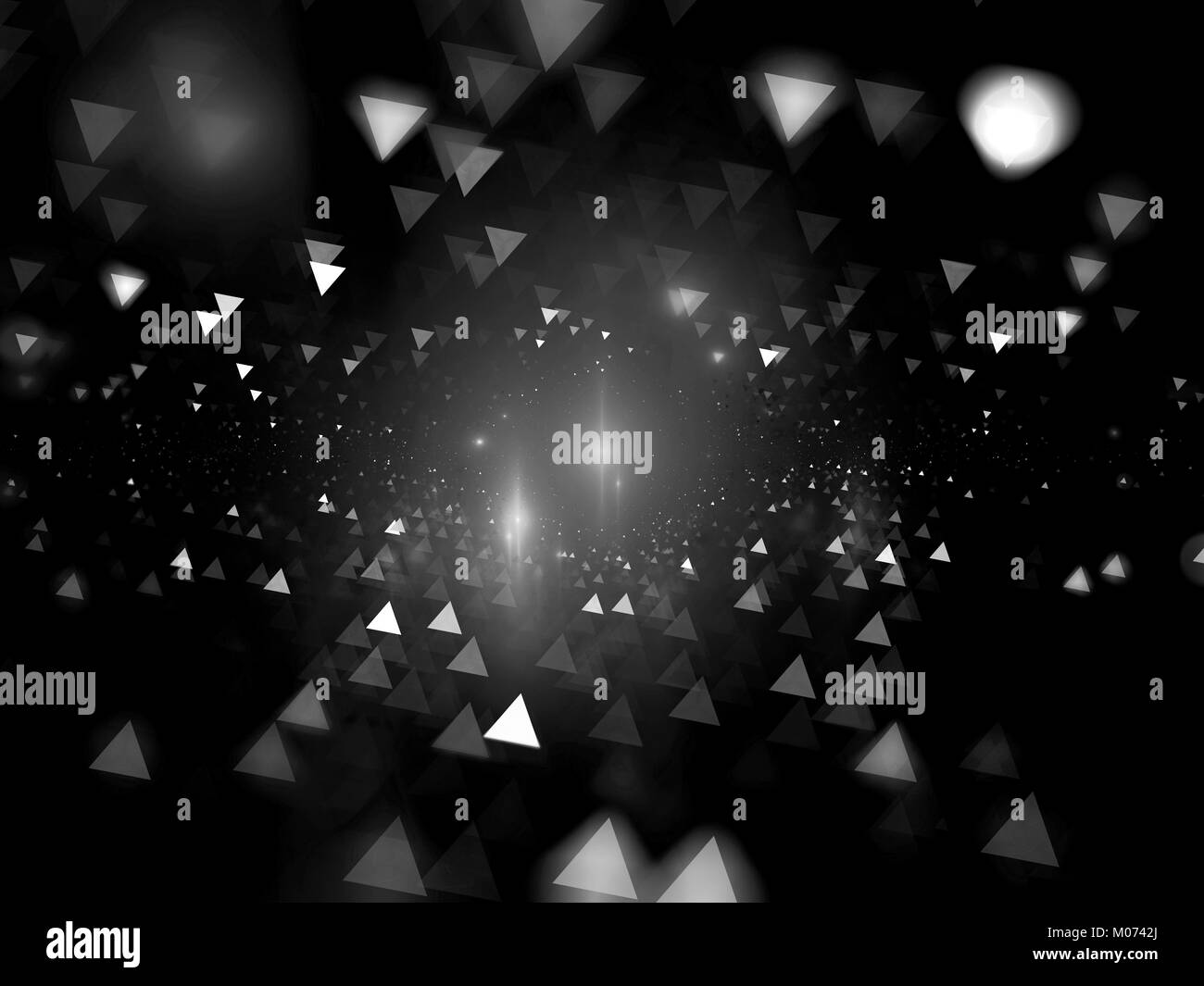Glowing bokeh triangles black and white texture, computer generated abstract background, 3D rendering - Stock Image