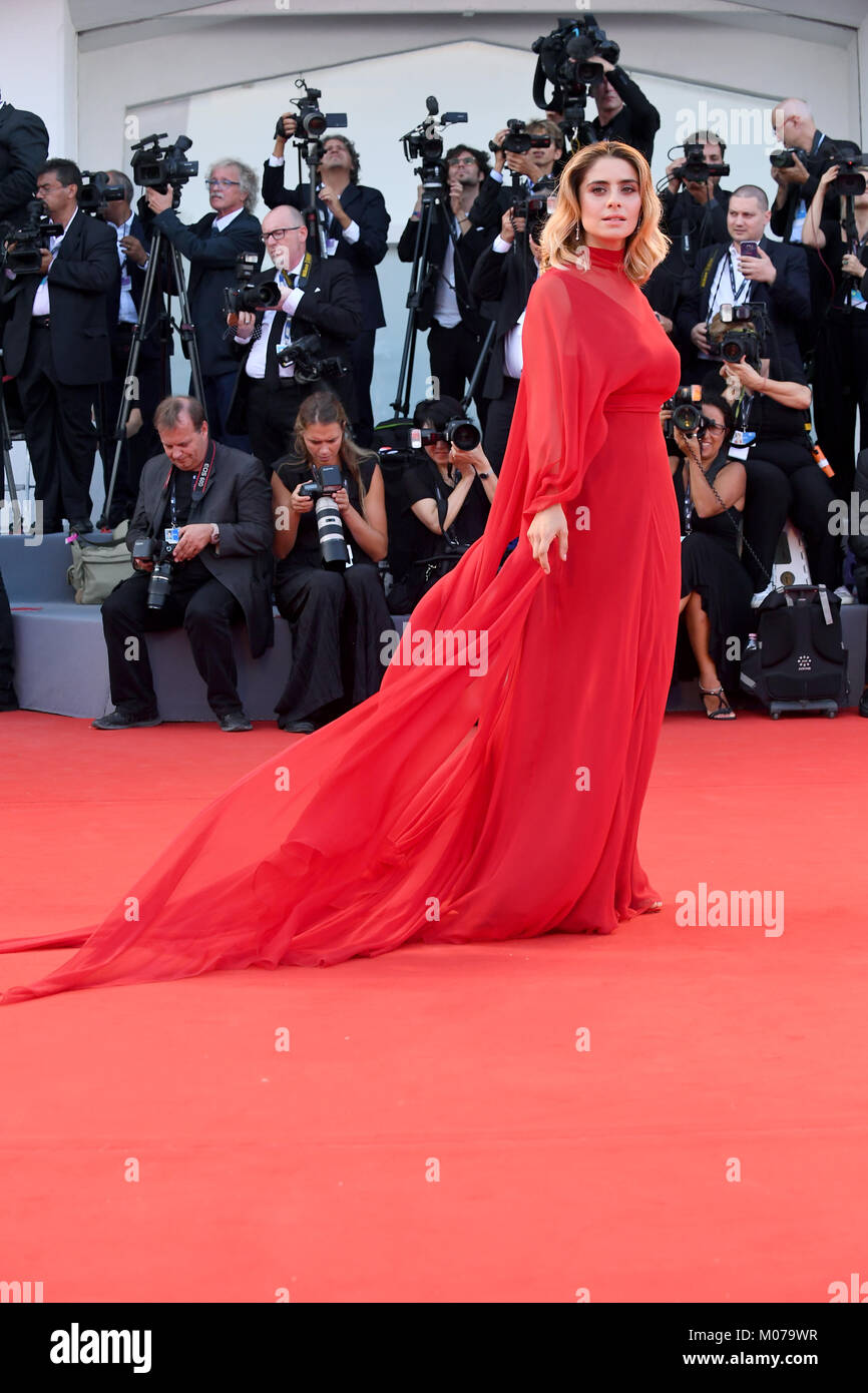 Greta Scarano attends the Opening ceremony and Downsizing Premiere during the 74th Venice Film Festival in Venice, - Stock Image