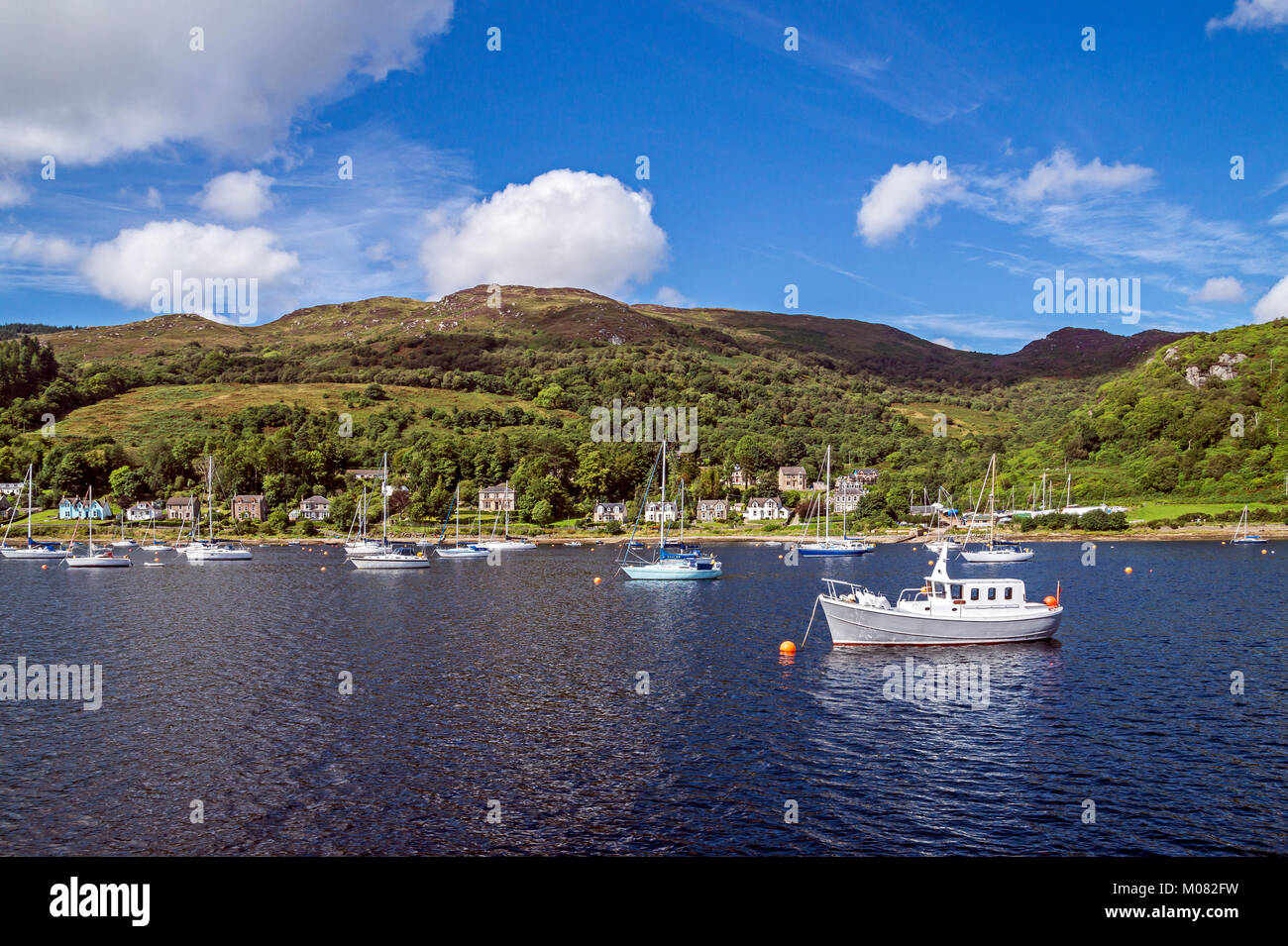 Pleasure vessels anchored in The Kyles of Bute at Tighnabruaich Argyll and Bute Scotland UK - Stock Image