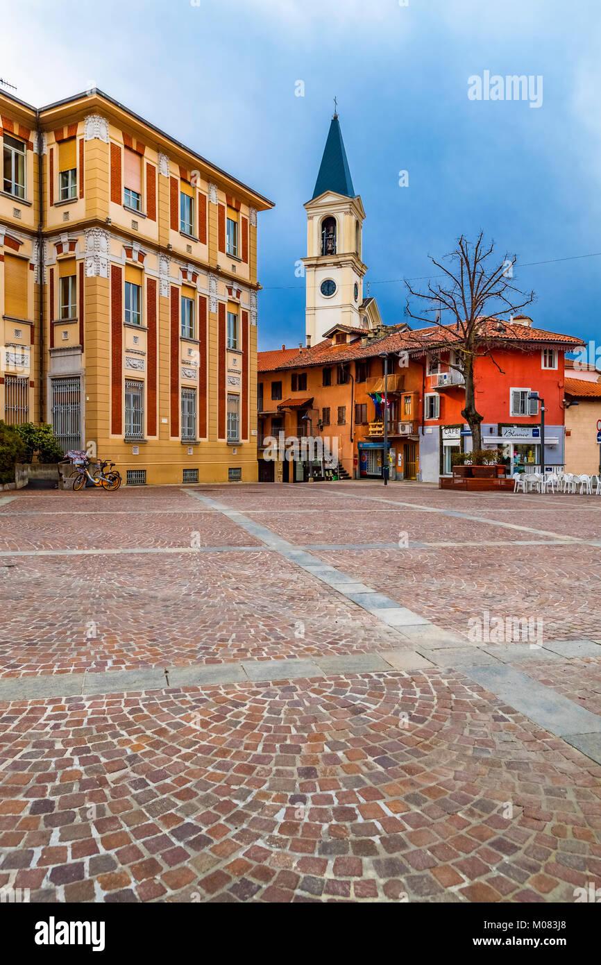 Italy Piedmont Settimo Torinese - old city -Piazza della Libertà City hall - Stock Image