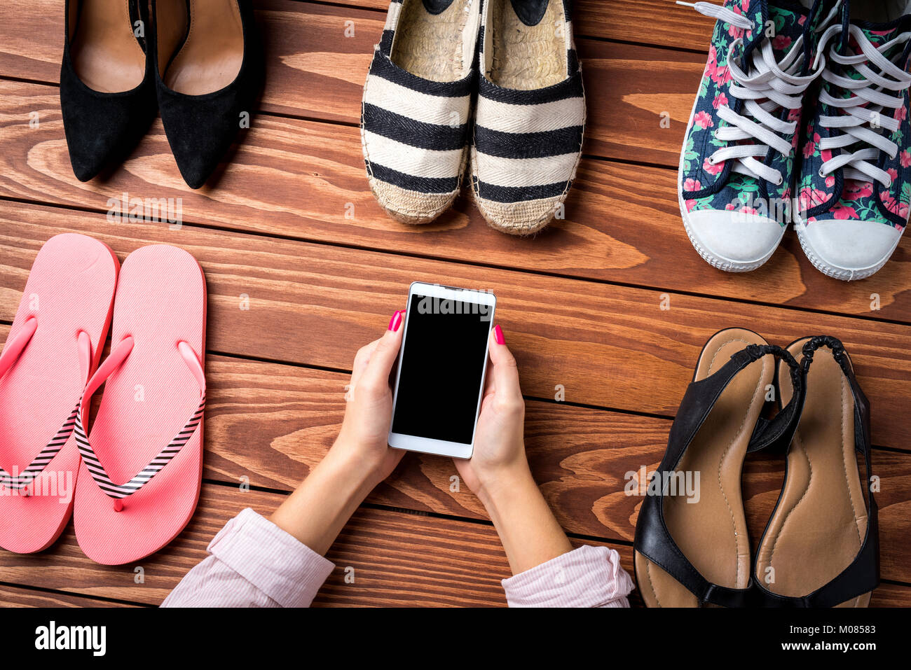 Woman's shoes collection. Fashion background - Stock Image