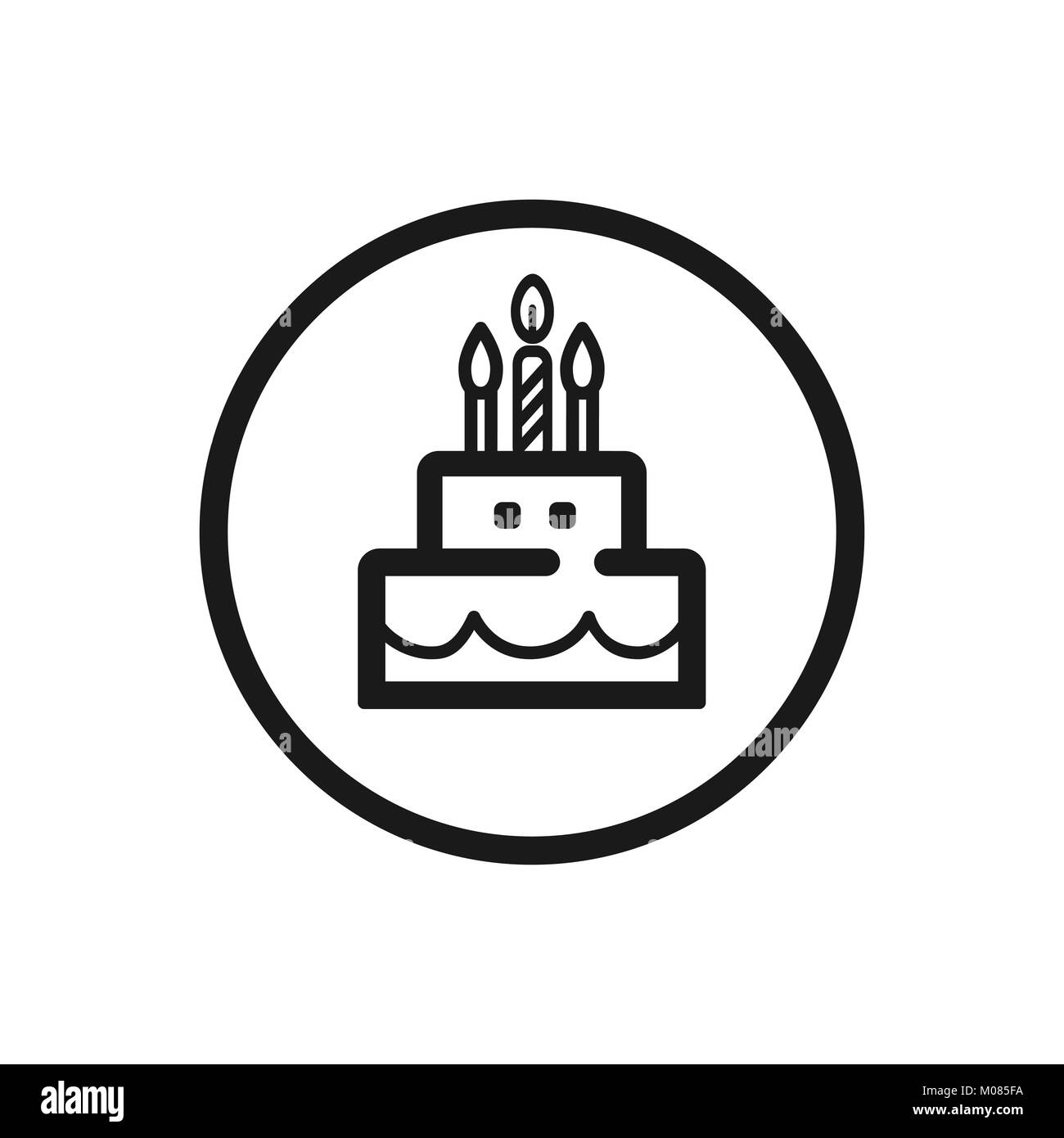 Birthday Cake Line Icon On A White Background Vector Illustration