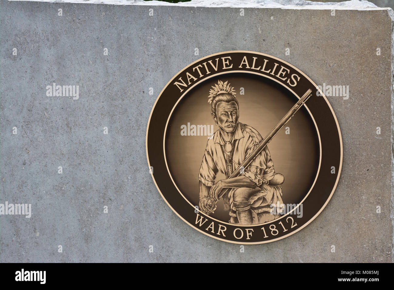 One of the commemorative plaques recognizing the contribution of First Nations peoples (Native Allies) in the War - Stock Image