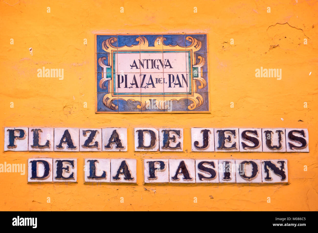Street name on ceramic tiles in Sevilla, Andalusia, Spain Stock ...