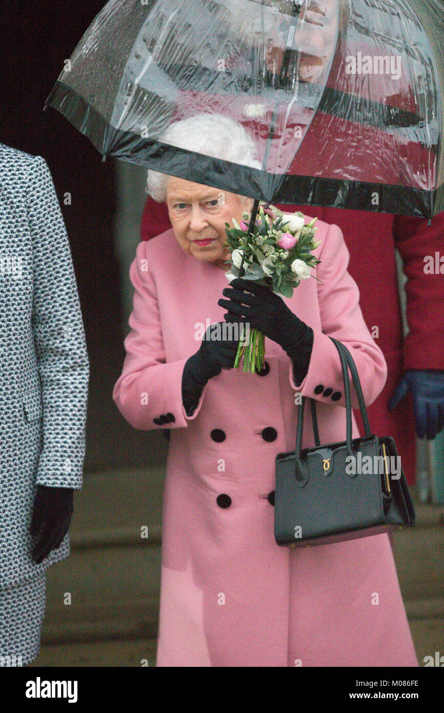 The Queen  leaving the  Women's Institute meeting in West Newton,Norfolk on Thursday afternoon January 18th.The - Stock Image