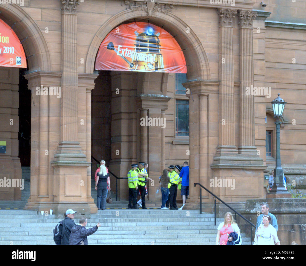 museum and art gallery dr who exhibit dalek exterminate police officers stop and search supporters at  orange order - Stock Image