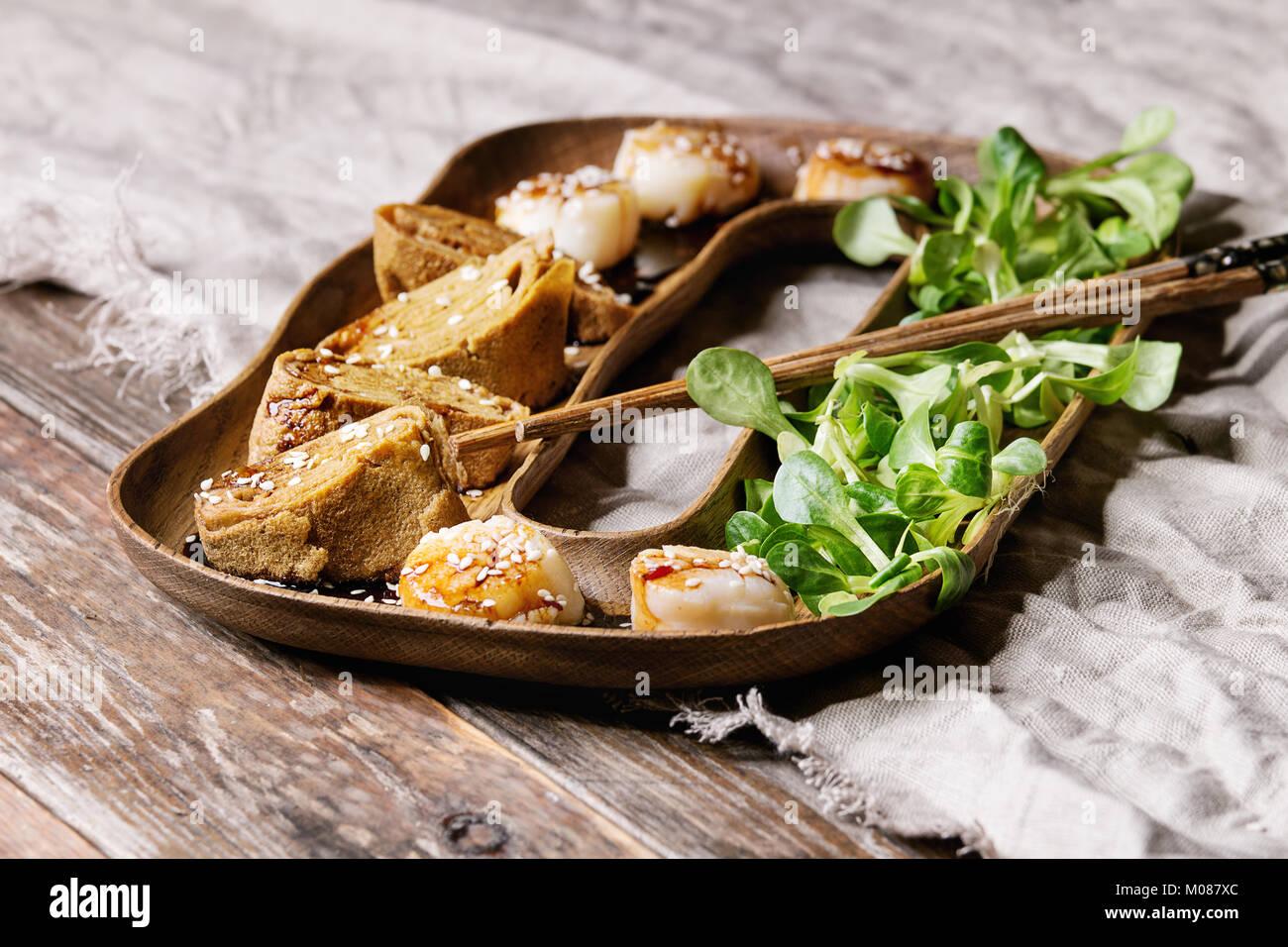 Asian style fried scallops Stock Photo