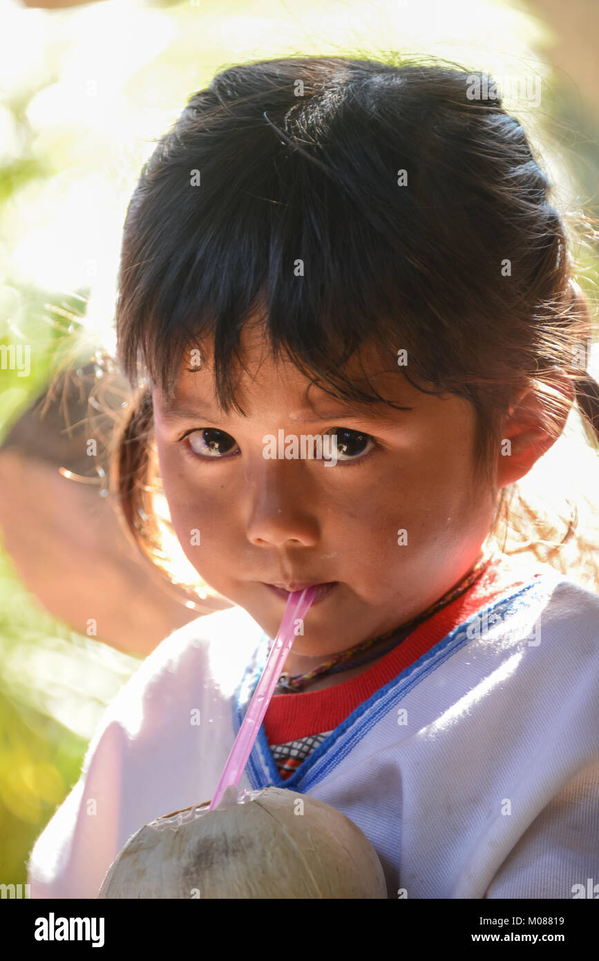 CHIANGMAI, THAILAND - JANUARY 24, 2015: Indigenous little girl sucking coconut jiuice in 22nd Traditional Skirt Stock Photo
