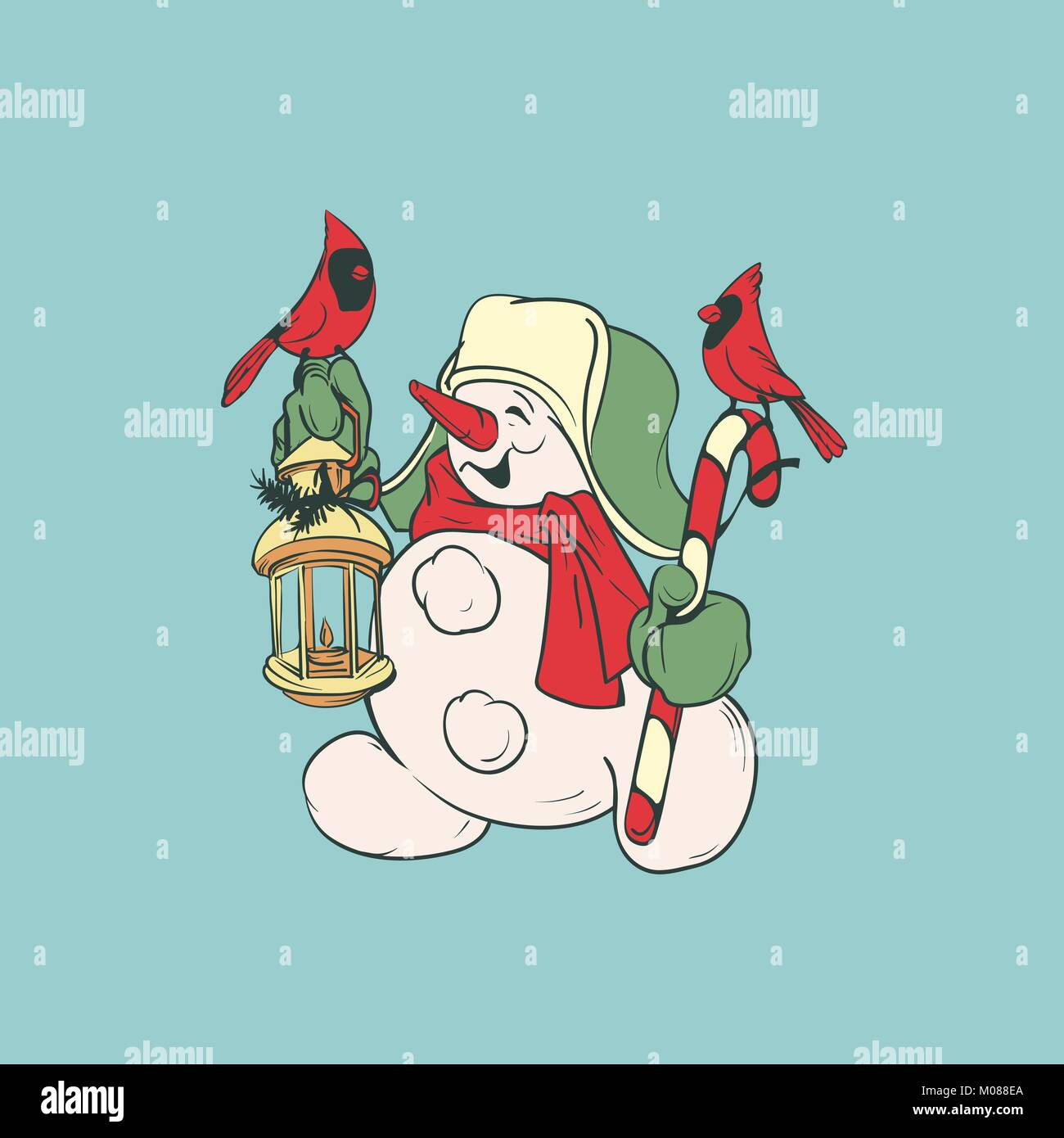 Cute smiling snowman with candy cane and lantern, cardinal birds - Stock Vector