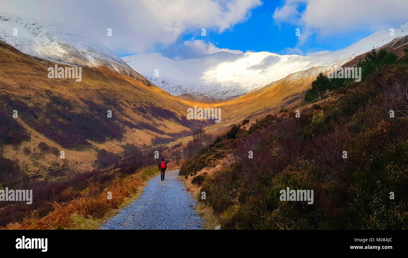 Walking in Scotland. This is the path leading to peaks in Mamore near Kinlochleven. The weather can change quickly - Stock Image