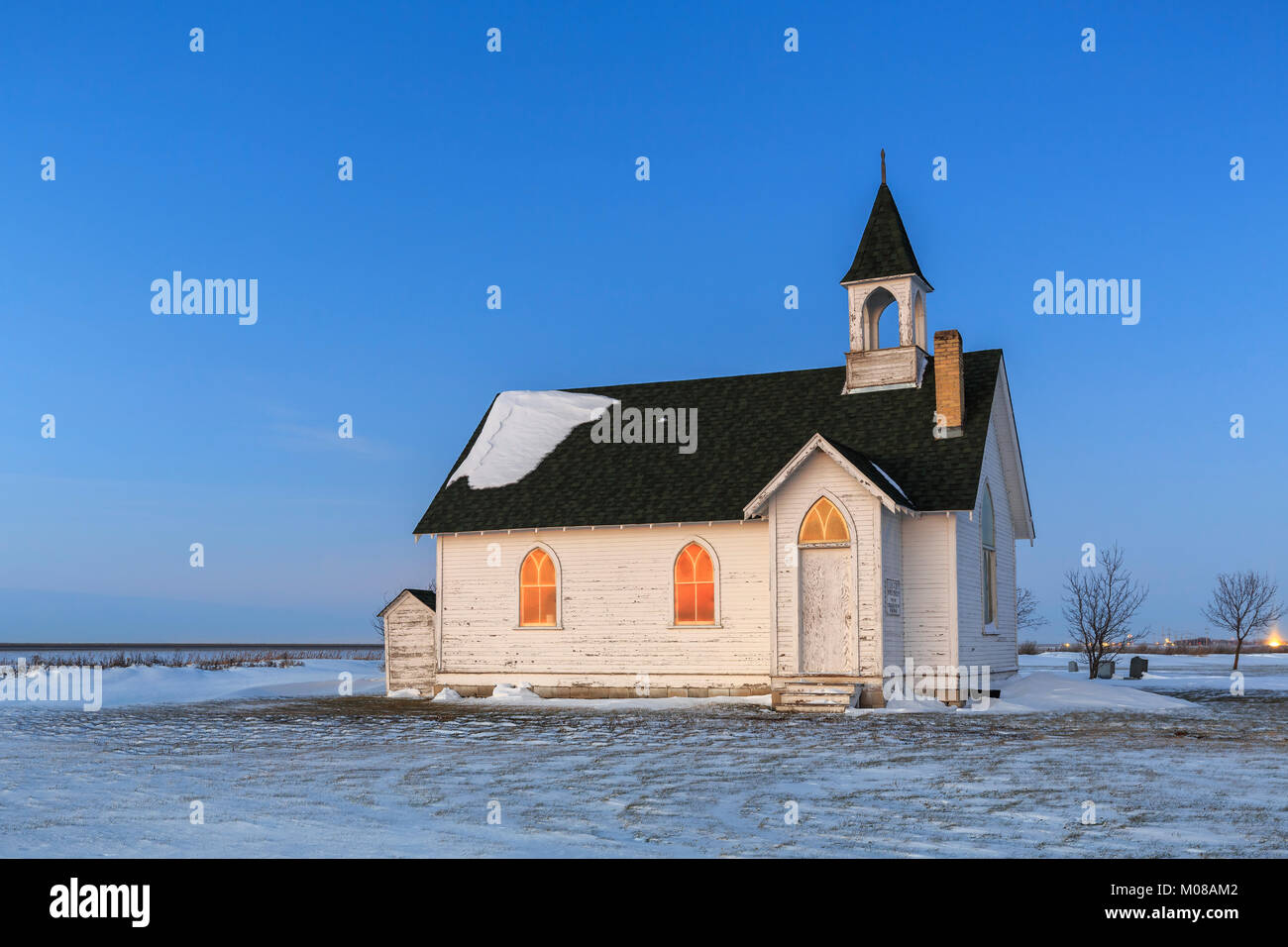 Abandoned church of the ghosttown Union Point, Manitoba, Canada. - Stock Image