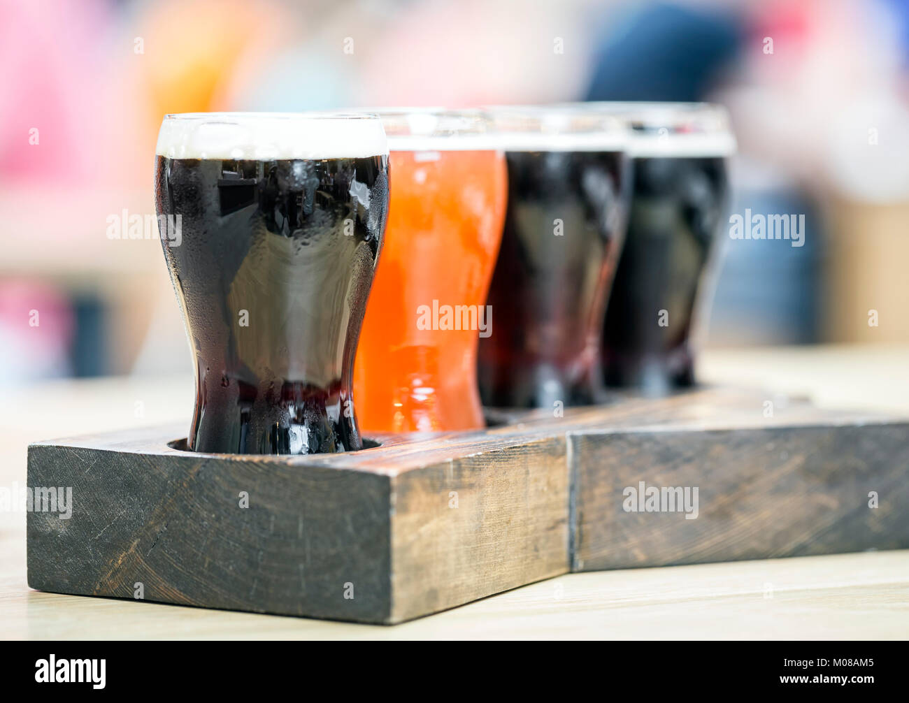 A flight of beers, close up - Stock Image