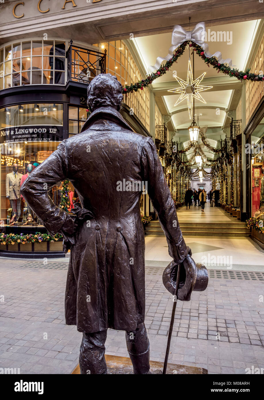 Beau Brummell Monument and Picadilly Arcade, London, England, United Kingdom Stock Photo