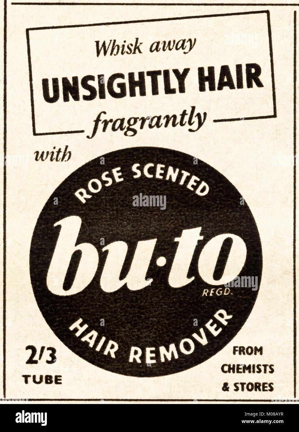 1950s old vintage original advert advertising bu-to rose scented hair remover in magazine circa 1954 - Stock Image