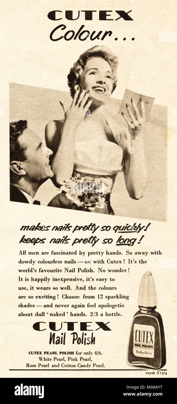 1950s old vintage original advert advertising Cutex nail polish in magazine circa 1954 - Stock Image