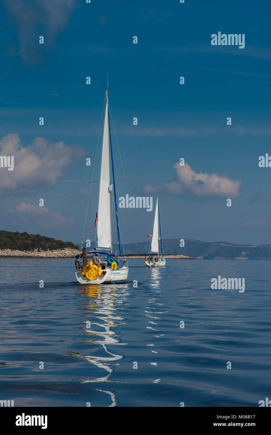 Sailing in the Ionian Islands - Stock Image