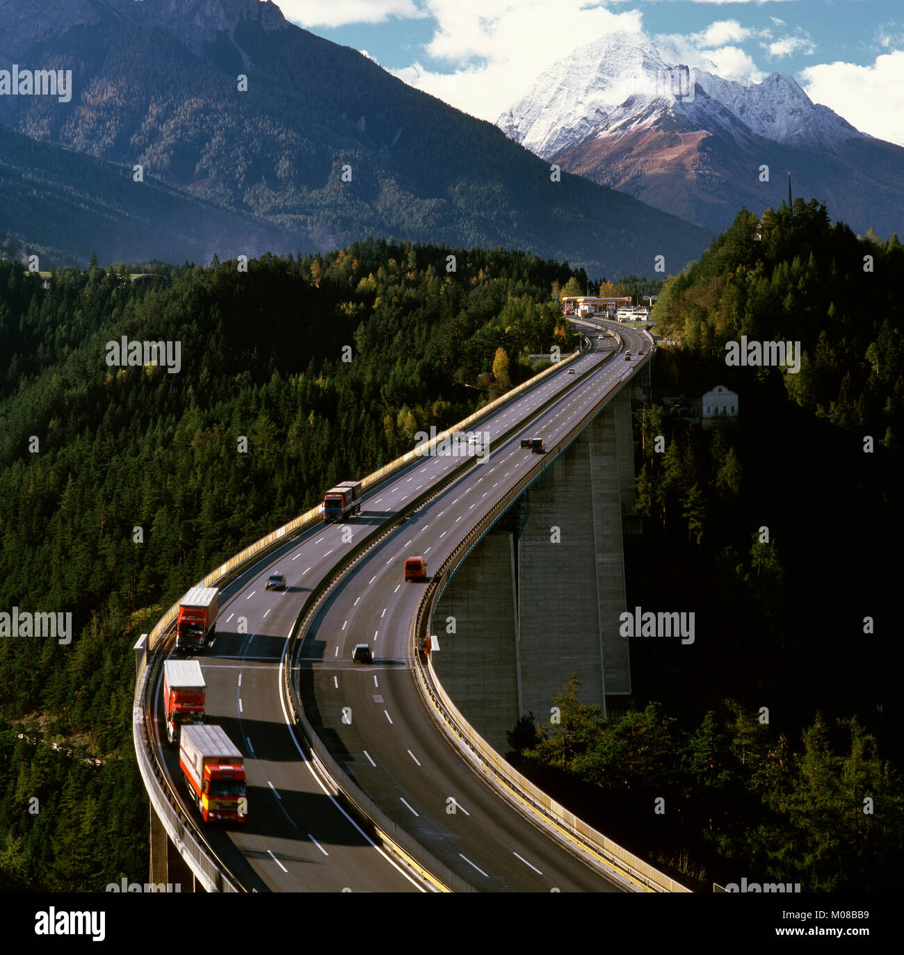 The Europa Bridge on the Brenner Pass near Innsbruck,Tirol, Austria - Stock Image
