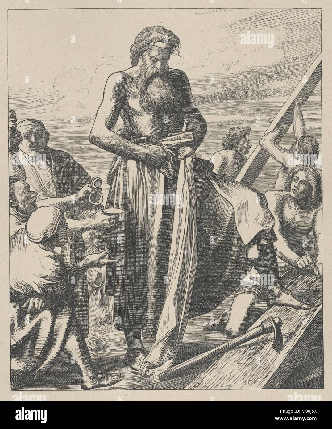 Noah Building the Ark (Dalziels' Bible Gallery) MET DP835634 - Stock Image